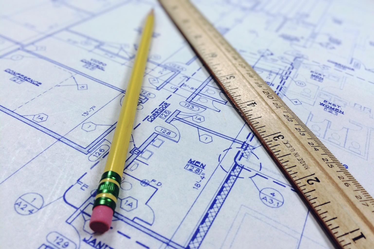 plán, ceruza, pravítko